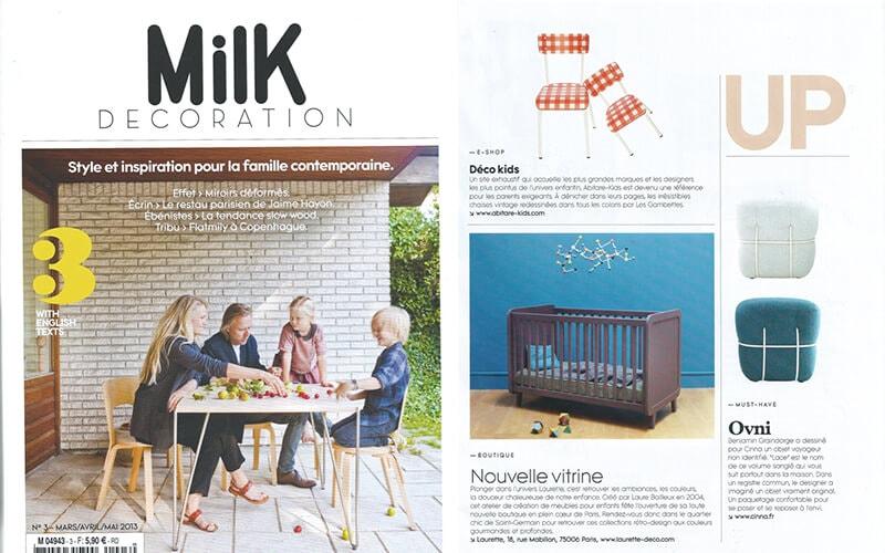 milk magazine parution presse les gambettes retro design formica chaise suzie vichy france