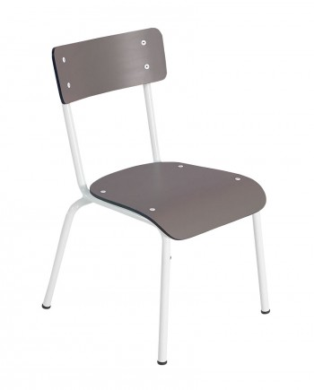 taupe chaises ecoliers retro
