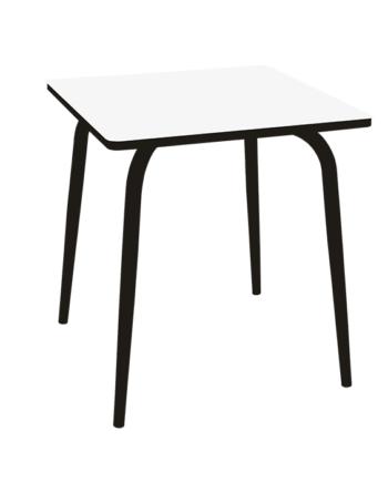 TABLE CARRE BLANC PIEDS NOIRS ACIER