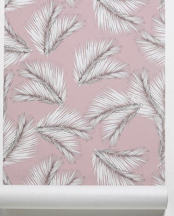 palme wall paper rose