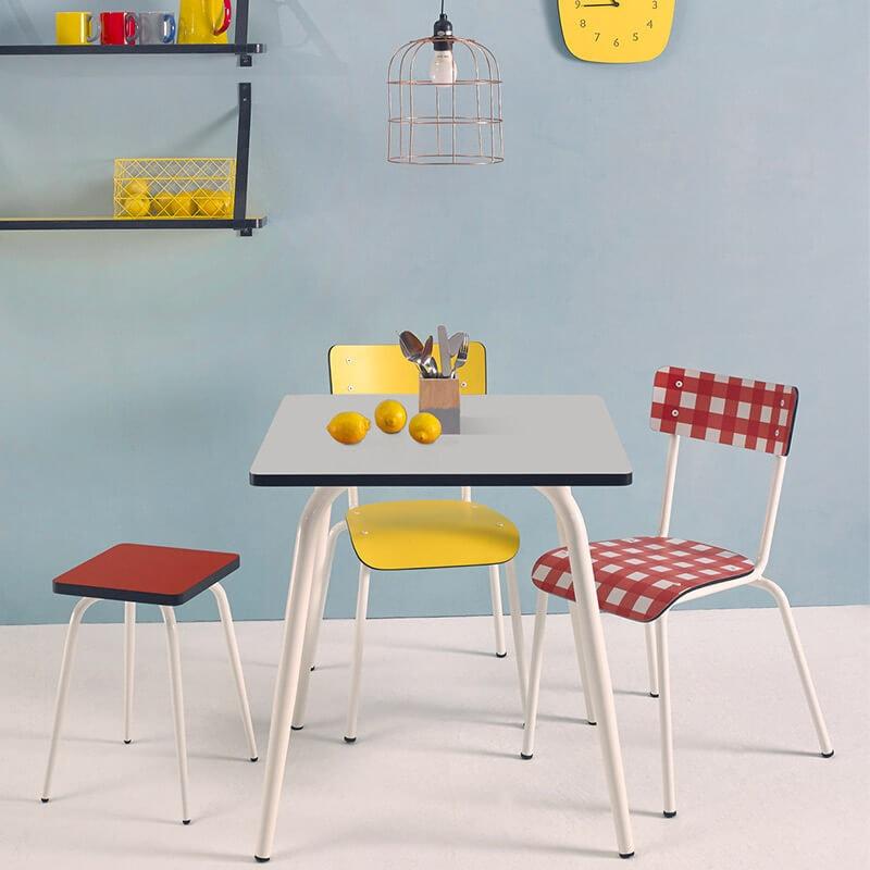 Table manger tables design v ra carr e formica gris perle for Table 70x70 design