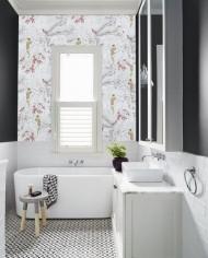 photos d'ambiance papiers peints salle de bain jungle