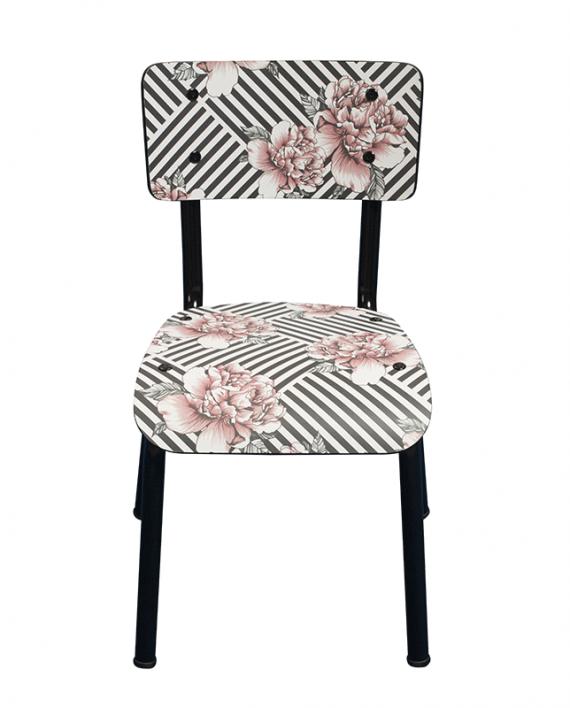chaise arty imprimé vintage rayures