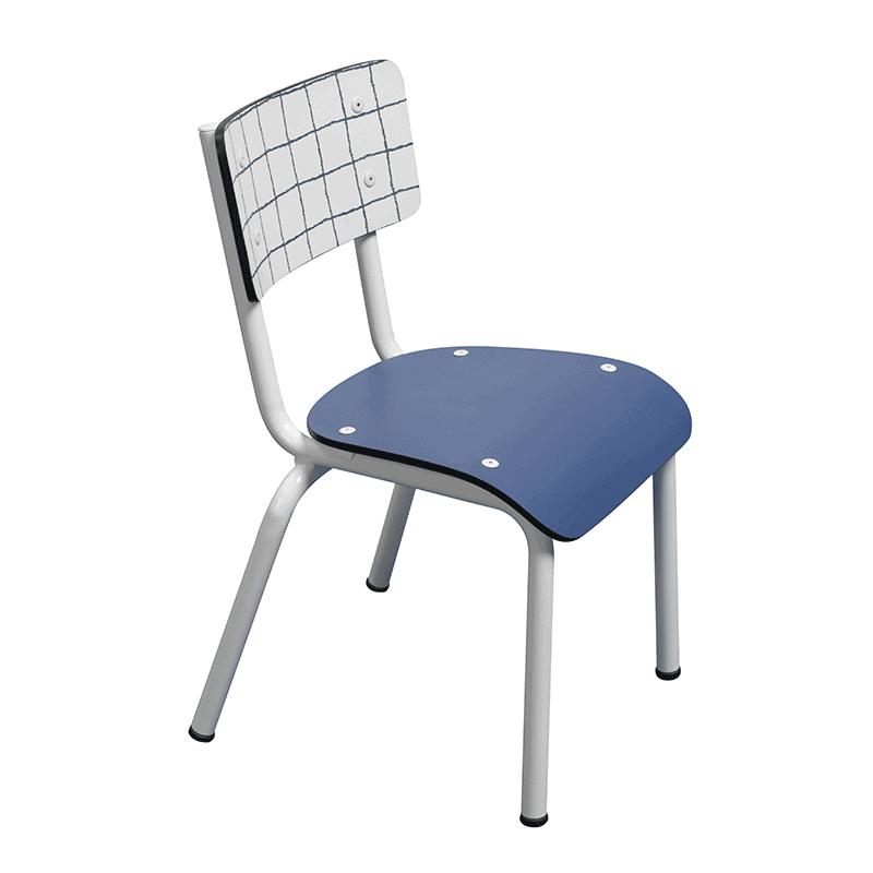 chaise d 39 colier retro imprim check chaise enfant vintage carreaux bleu. Black Bedroom Furniture Sets. Home Design Ideas