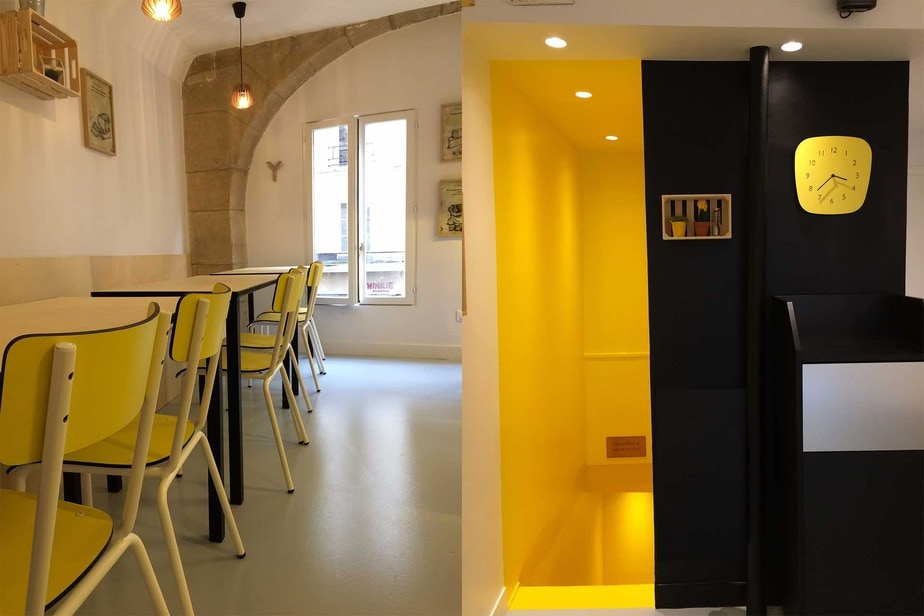 ARSENE jaune table banc tabouret