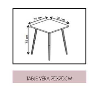 Dimensions Table Vera 70x70 cm