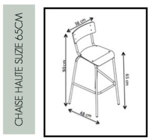 Dimensions de la Chaise Haute Suzie 65cm