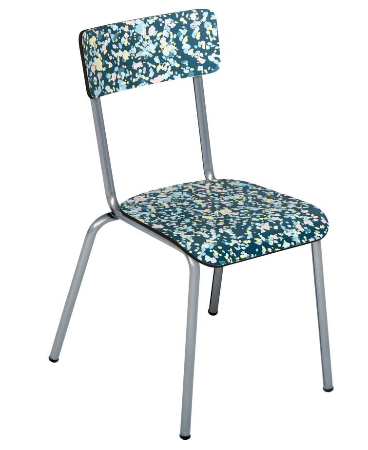 Suzie Adult School Chair Blue mineral print steel legs Les