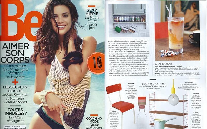 les gambettes parution presse be magazine chaise suzie rouge coquelicot formica retro design mobilier vintage