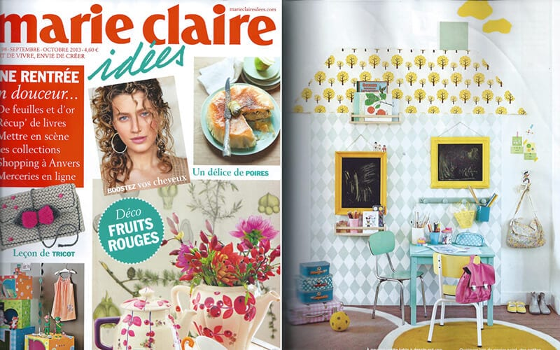 marie claire idées les gambettes parution presse decoration chaise suzie jaune vintage design home decor