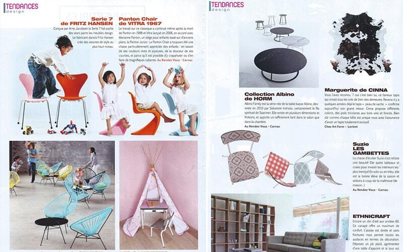 tendances design les gambettes parution presse chaise suzie motif vichy carreaux de ciment formica retro vintage mobilier design