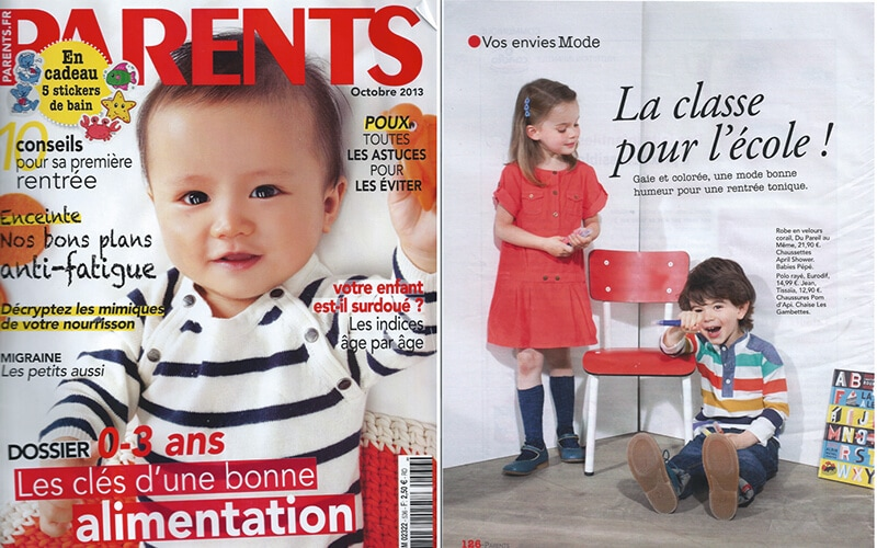 les gambettes parution presse magazine parents chaise little suzie rouge coquelicot