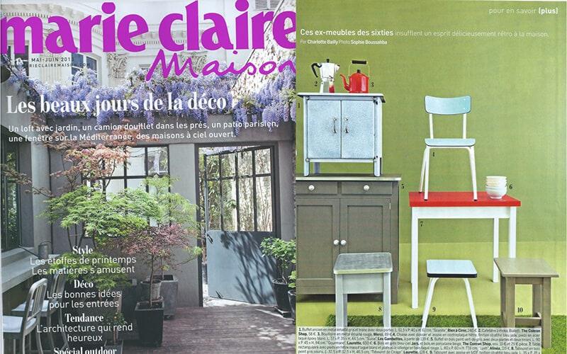les gambettes parution presse marie claire maison chaise little suzie bleu bureau régine rouge coquelicot retro design