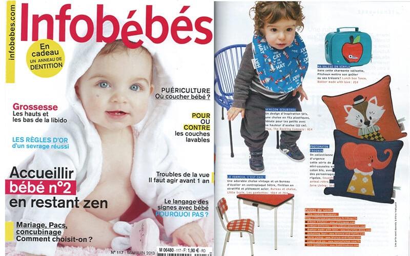 infos bébés les gambettes parution presse bureau régine chaise little suzie motif vichy rouge retro écolier