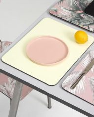 Light Grey Vera Table 70×70 – Brushed Steel Legs