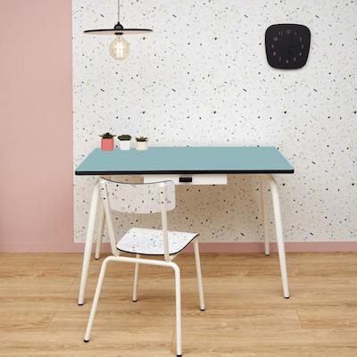 Table manger avec tiroir tables v ra 120x70 bleu jade for Table a manger 120x70