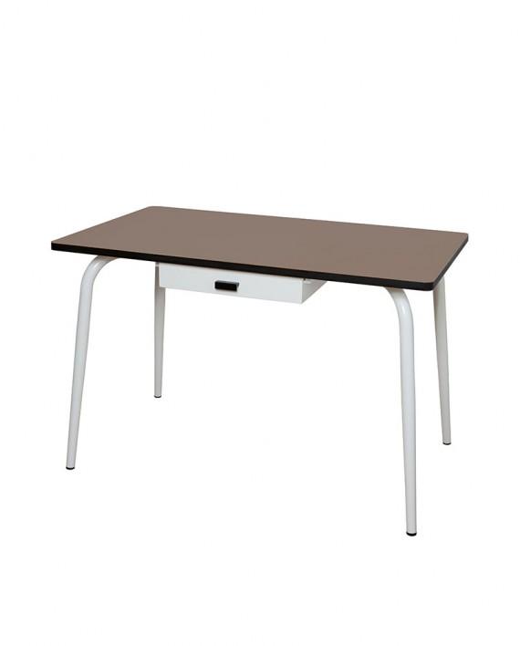 Table manger avec tiroir tables v ra 120x70 formica taupe for Table a manger 120x70