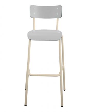 Chaise Haute Suzie gris perle pieds blanc