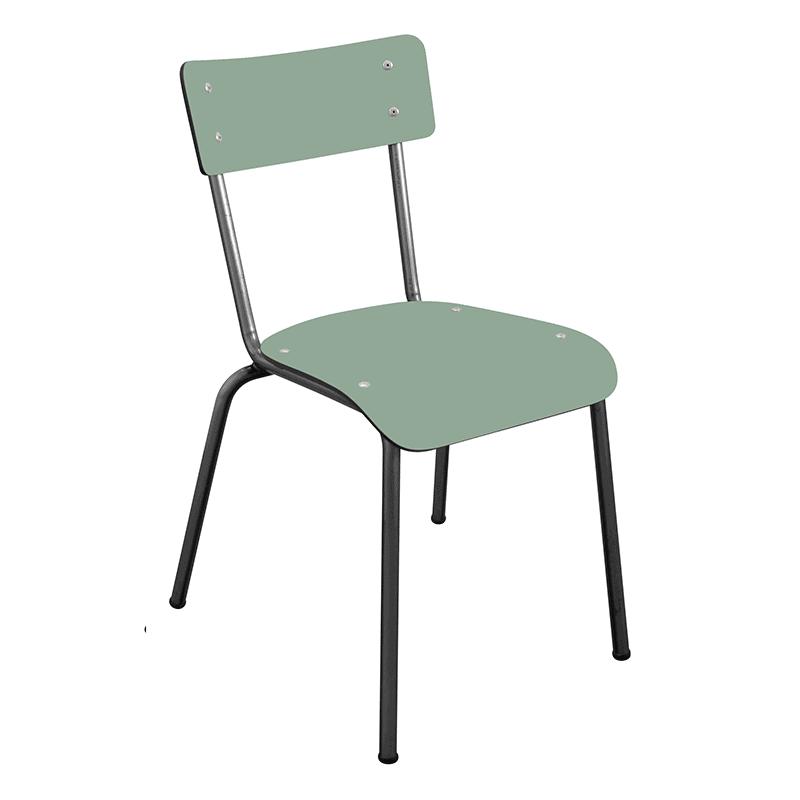 Chaise d'écolier Adulte Suzie Vert Kaki pieds Bruts retro design