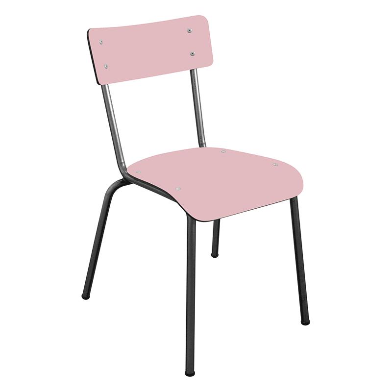 chaise suzie écolier les gambettes bicolore noir et rose poudré retro design adulte