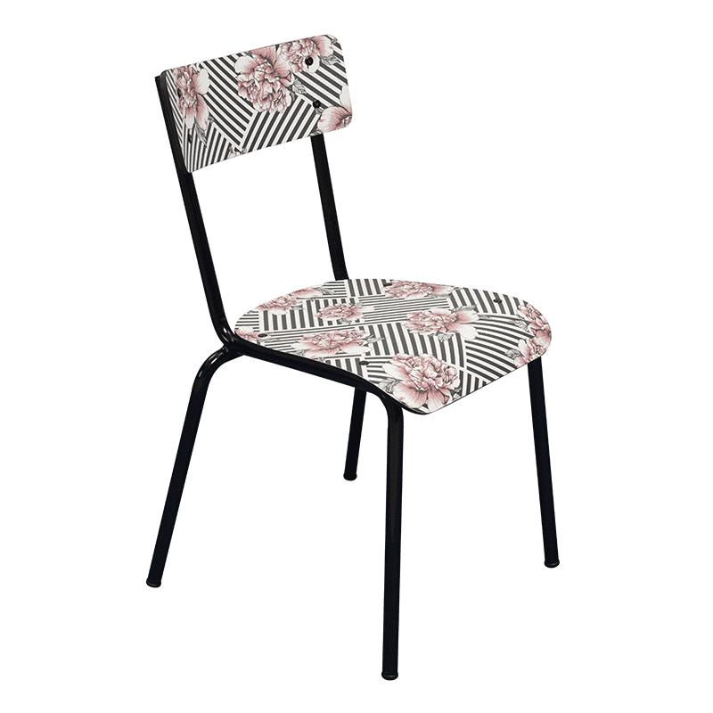 chaise suzie arty imprimé fleurs rayures noir blanc vintage retro design