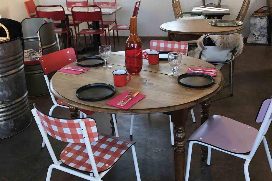 chaise suzie vichy rouge vieux rose