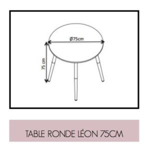 Dimensions de Table Ronde Léon