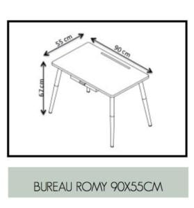bureau mesures formica retro romy