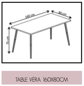Dimensions Table Vera 160x80cm retro