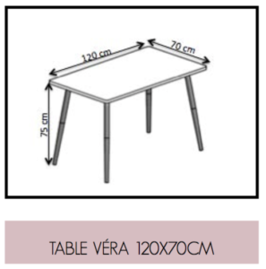 Dimensions Table Vera 120 x 170cm