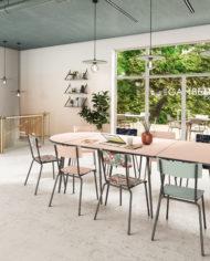 COWORKING -Tables OVALE et chaises-Rose poudré:Kaki