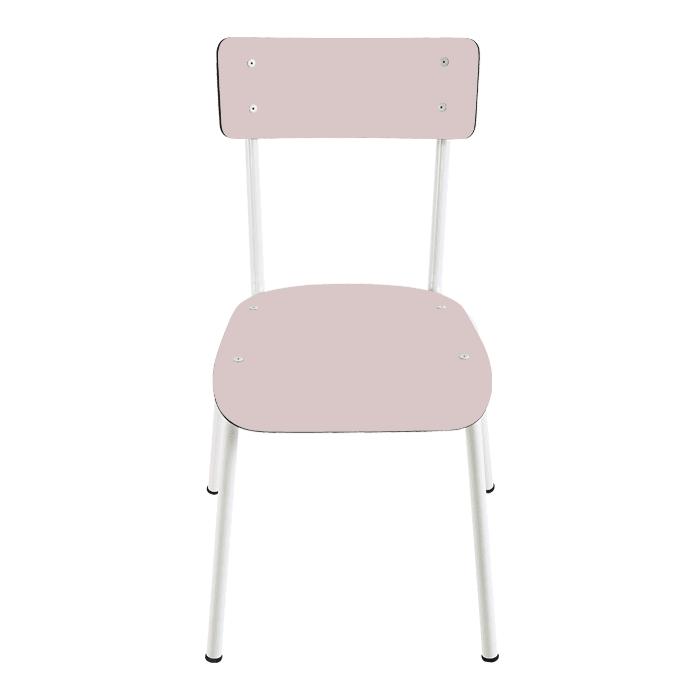 Chaise d'écolier adulte rose poudré pieds bruts Collection