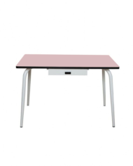 TABLE VERA AVEC TIROIR 120X70 ROSE POUDRÉ BLANC