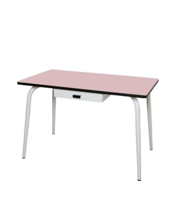 Table tiroir manger bureau rose poudré formica