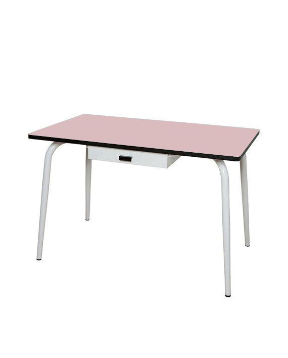 Table tiroir manger bureau rose poudré formica