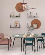 RESTAURANT TABLES JUSXTAPOSABLE – Fauteuil,tables RECTANGLE ET TABLE DEMIE LUNE et étagères Bleu canard Terracota
