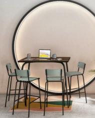 COWORKING-Table haute collaborative et chaises de bar 75cm -Bois foncé:Kaki