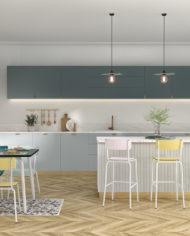 MAISON – CUISINE -Chaises de bar 65CM – TABLE 8 COUVERTS – chaises suzie-Rose poudré:Jaune citron