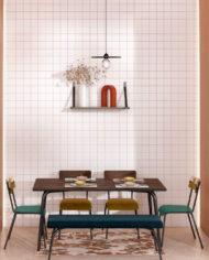 RESTAURANT-Table, chaise bi matière banc banquette et dessous de table-vert forêt et imprimé bois foncé